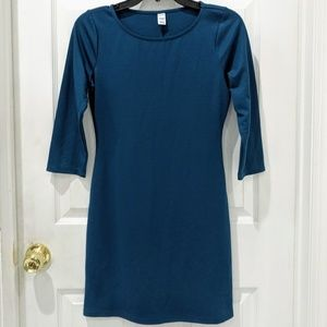 Old Navy 3/4 Sleeve Teal Mini Dress